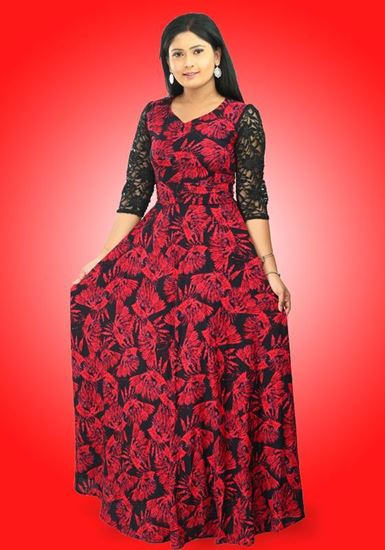 Picture of Red & Black Mixed Flared Maxi Dress with Lace Three Quarter Sleeves