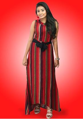 Picture of Striped Designed  Sleeveless High Low Maxi Dress  with Belt