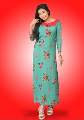 Picture of Neck Designed Long Sleeves Long Top with Printed Flowers