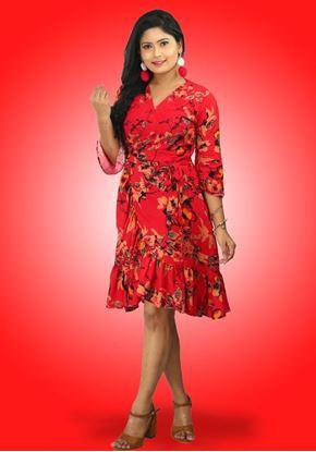 Picture of Printed Designed Lola Cross Over Midi Dress