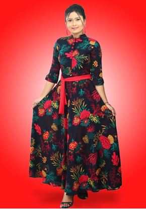 Picture of High Necked Three Quarter Sleeves Maxi Flared Frock with Belt