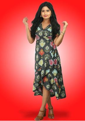 Picture of Printed Designed Lola Cross Over  Midi Dress with Short Sleeves