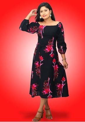 Picture of Off Shoulder Printed Designed Long Puff Sleeves Three Quarter Dress with Belt