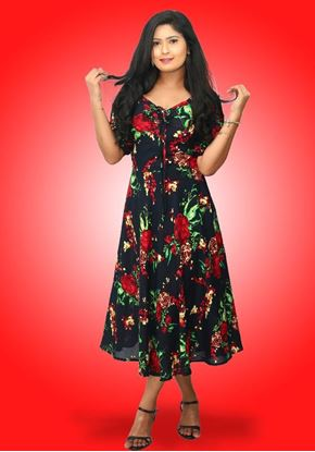 Picture of Front Knotted Printed Designed Three Quarter Dress with Puff Sleeves