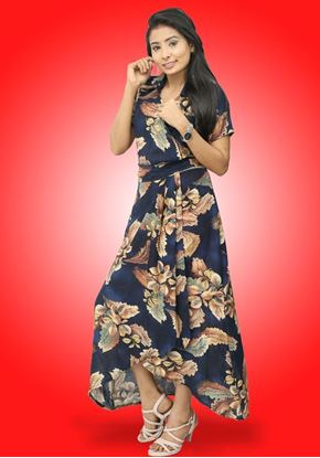 Picture of Cross Over Collared High Low Maxi Dress