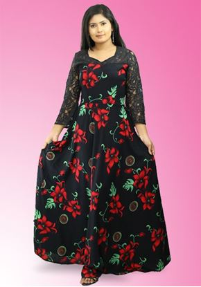 Picture of Black Color Long Maxi Dress with Lace