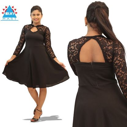 Picture of Back opened black lace mix dress